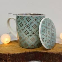 Tisanera Porcelana Azul Dorado
