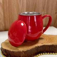 Tisanera roja filtro acero